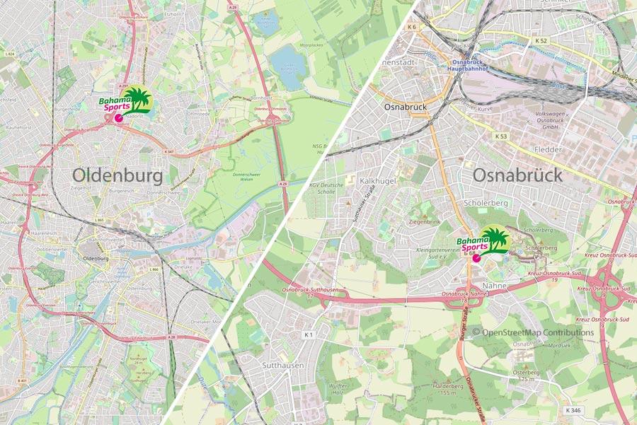 Karte Oldenburg & Osnabrück