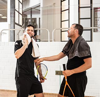 Racket Spieler nach Match